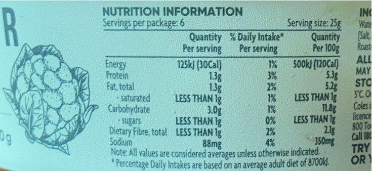 Cauliflower and fennel dip - Nutrition facts - en