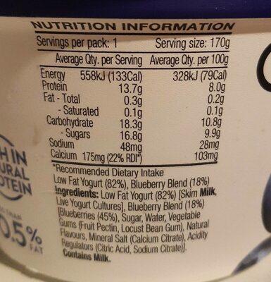 Blueberry Greek Yogurt - Voedingswaarden - en