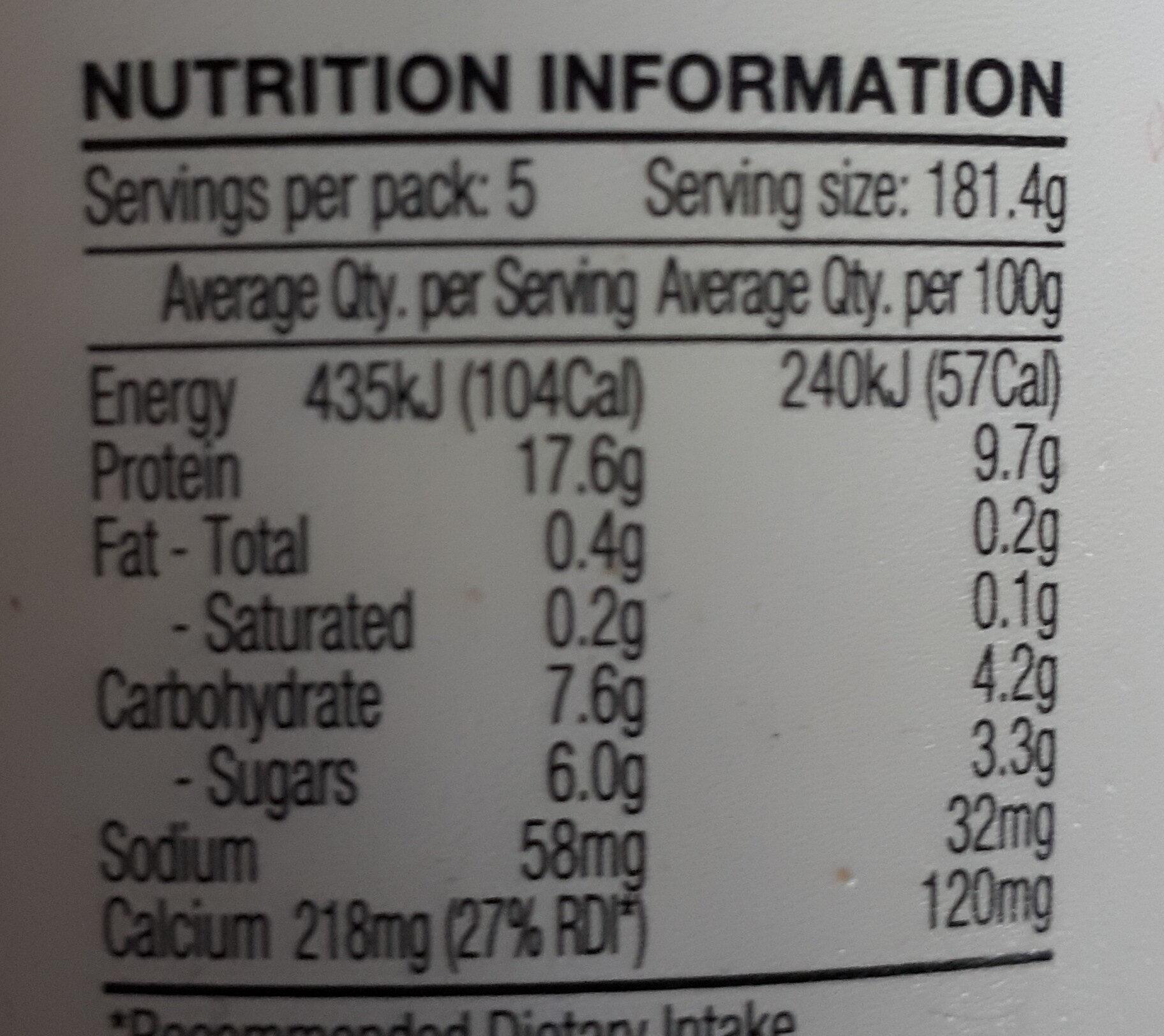 Chobani Plain Greek Yogurt (0.5% fat) - Nutrition facts
