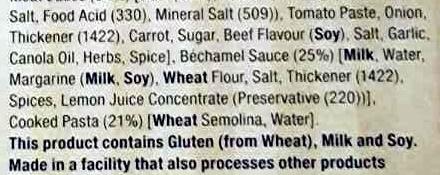 Beef Lasagne - Ingredients