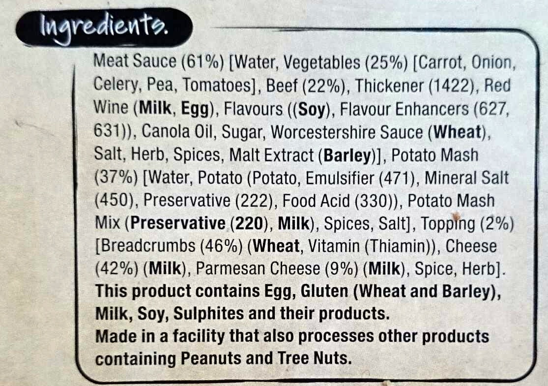 Shepherd's pie - Ingredients - en