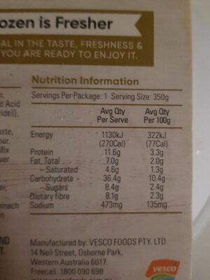 Super Green wellness bowl - Informations nutritionnelles - en