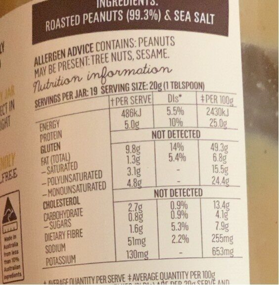 Mayvers Super Natural Smooth Peanut Butter - Nutrition facts - fr
