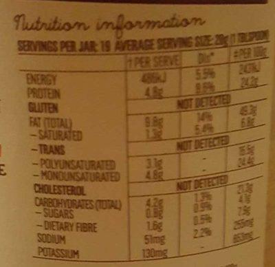 Mayvers Super Natural Crunchy Peanut Butter - Nutrition facts - en