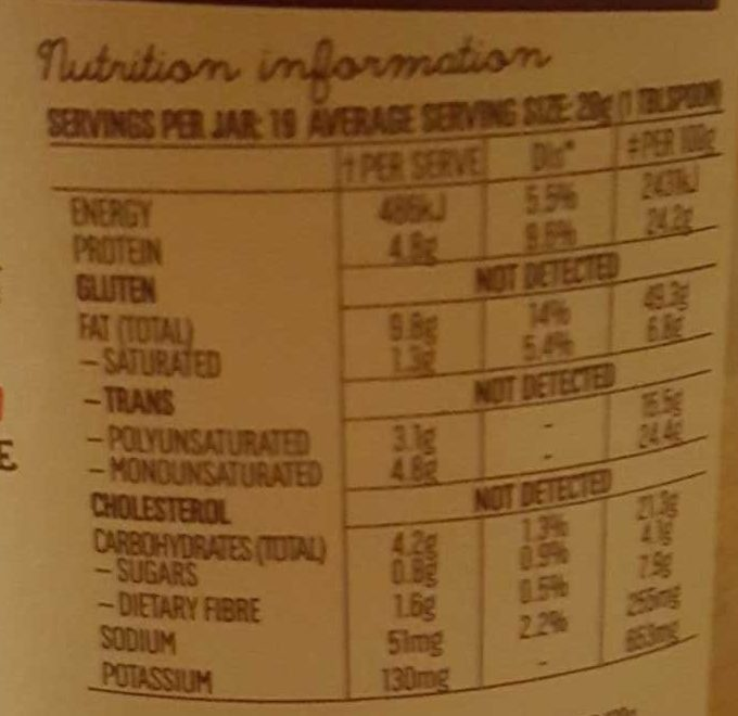 Mayvers Super Natural Crunchy Peanut Butter - Nutrition facts