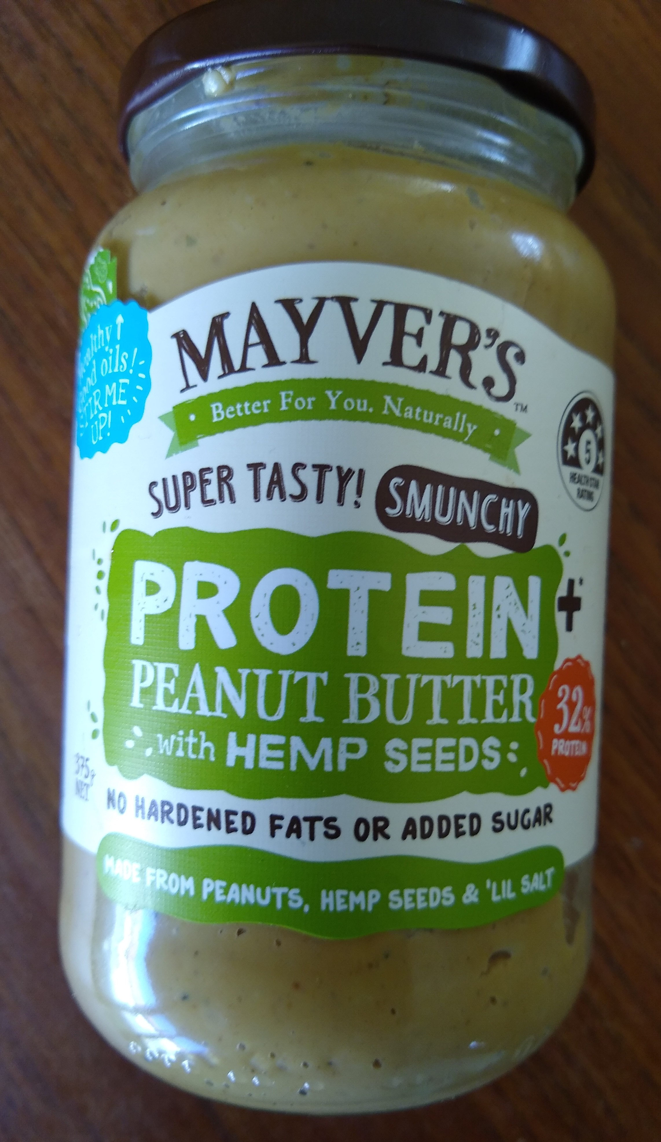 Mayver's Protein+ Peanut Butter with hemp seeds. - Product