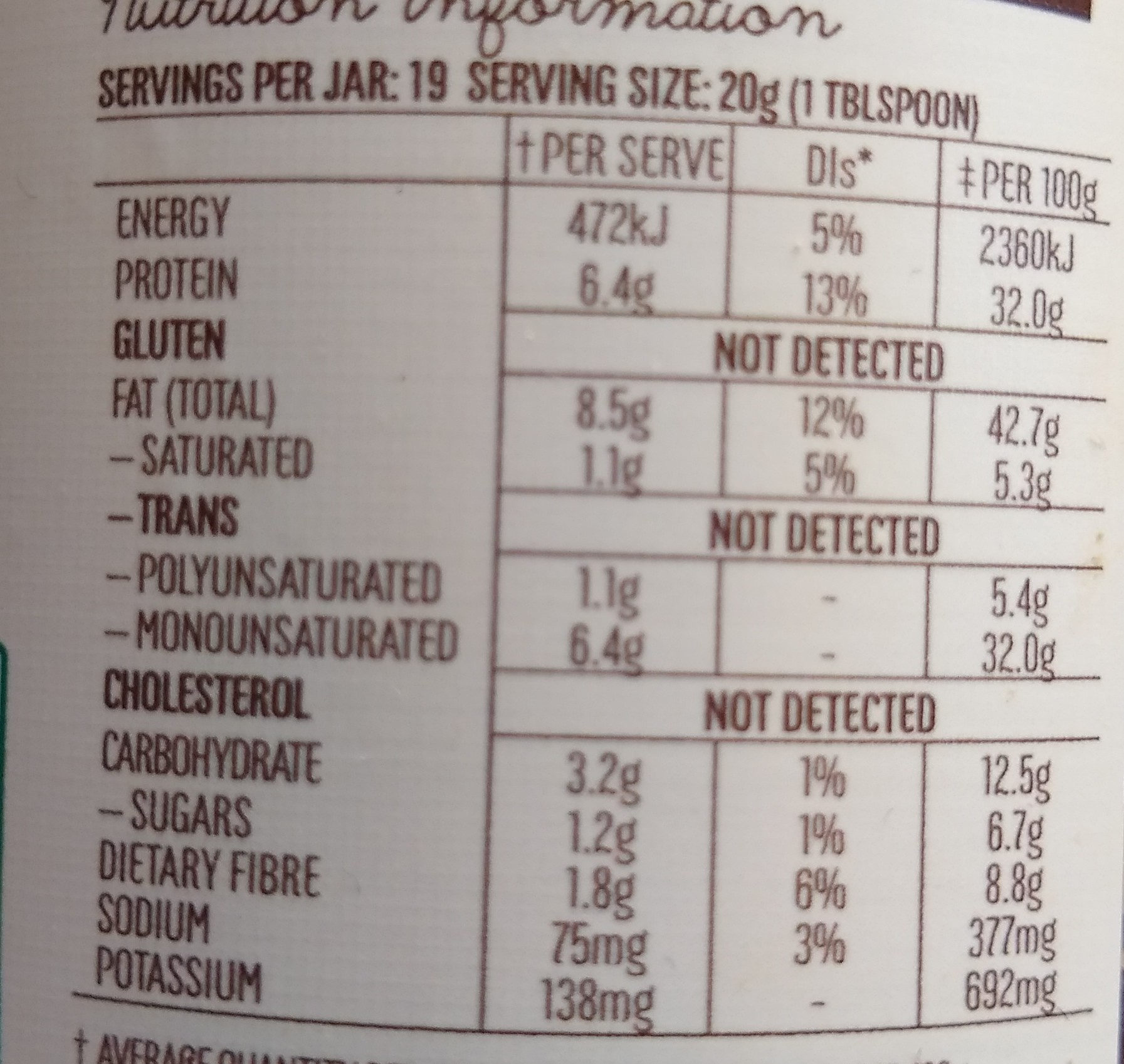 Mayver's Protein+ Peanut Butter with hemp seeds. - Nutrition facts