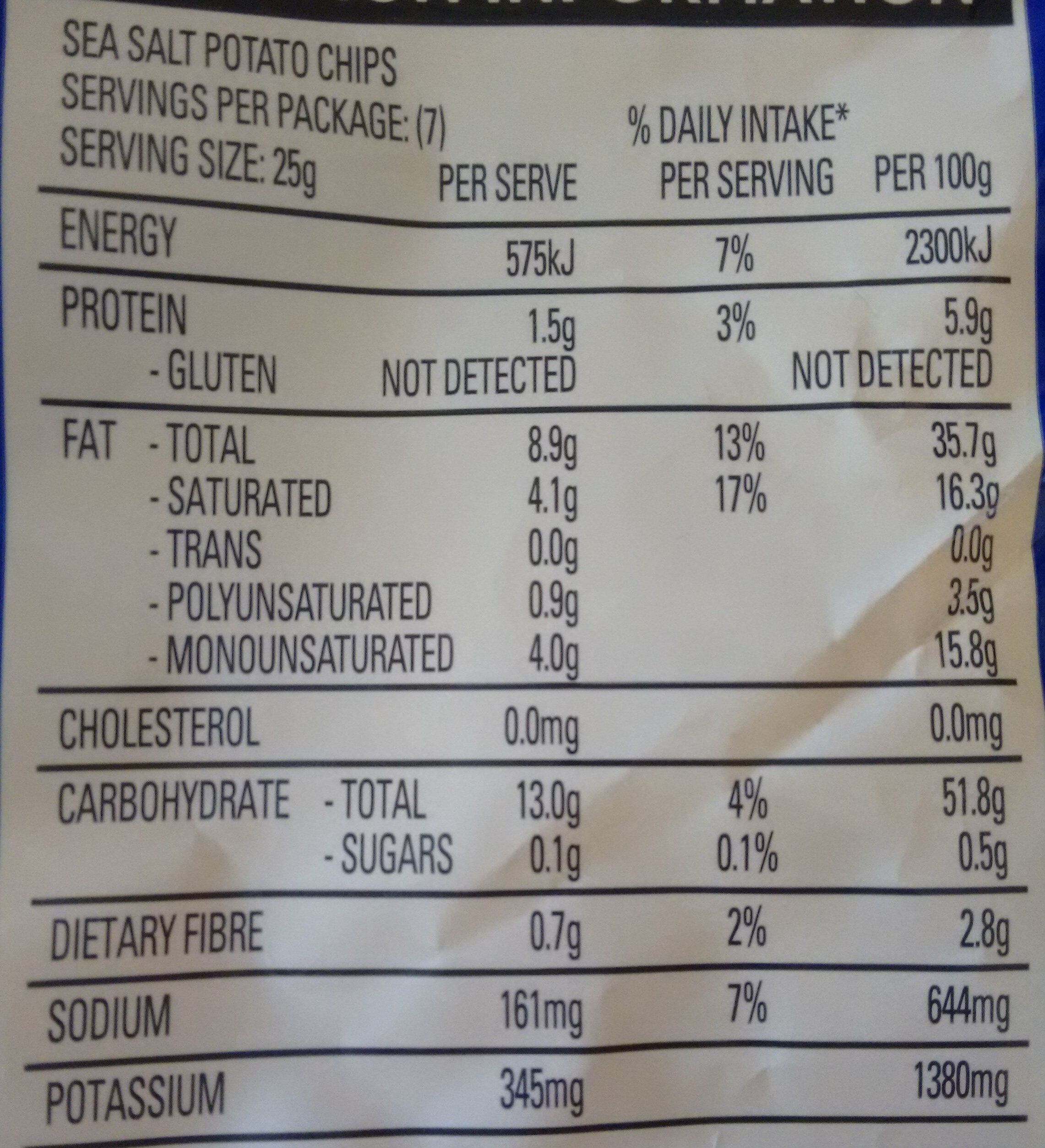 The natural chip co. - Nutrition facts