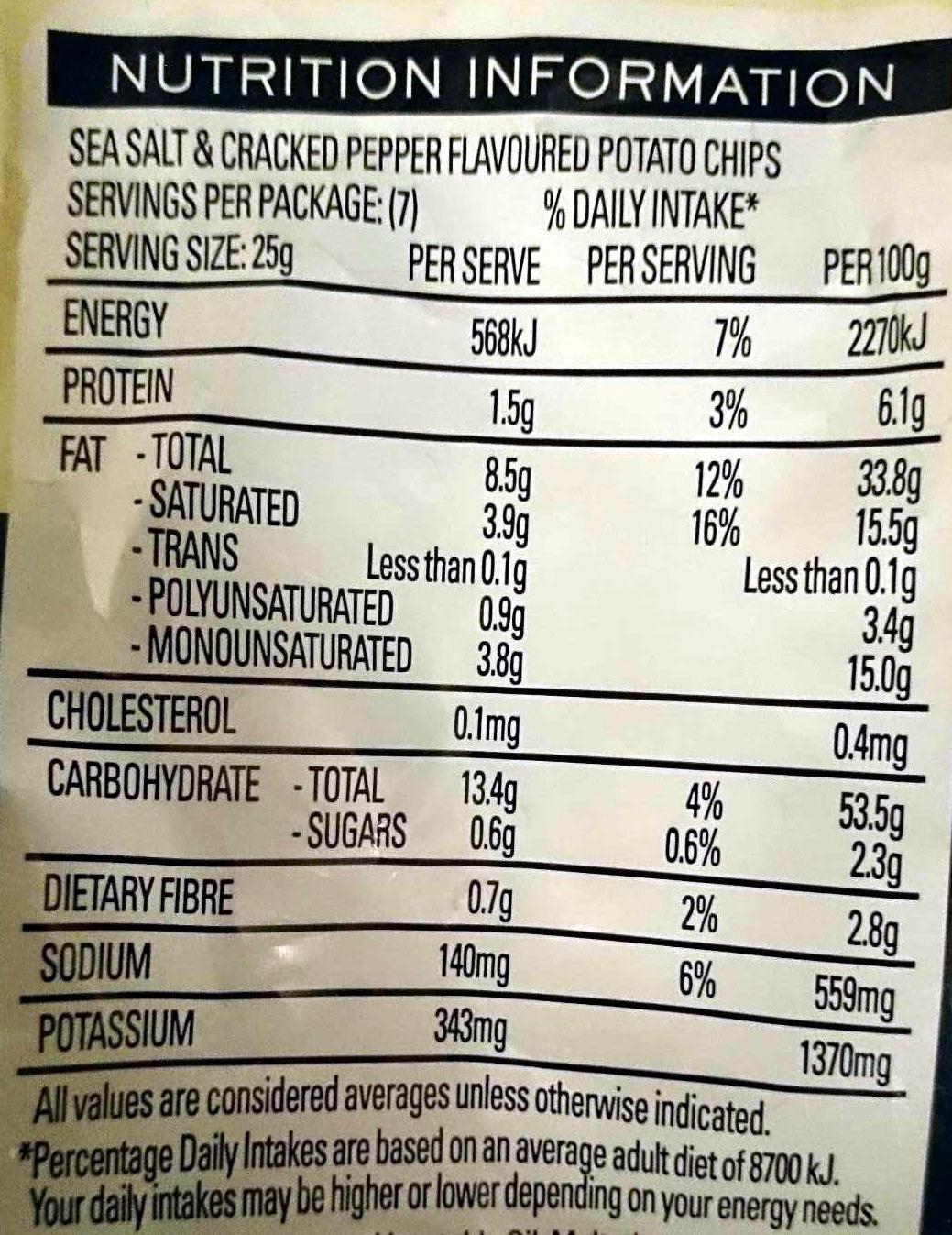 Natural Chip Company Sea Salt & Cracked Pepper - Nutrition facts - en