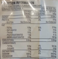 Uppercuts Feta & Roasted Garlic Flavoured Corn Chips - Nutrition facts