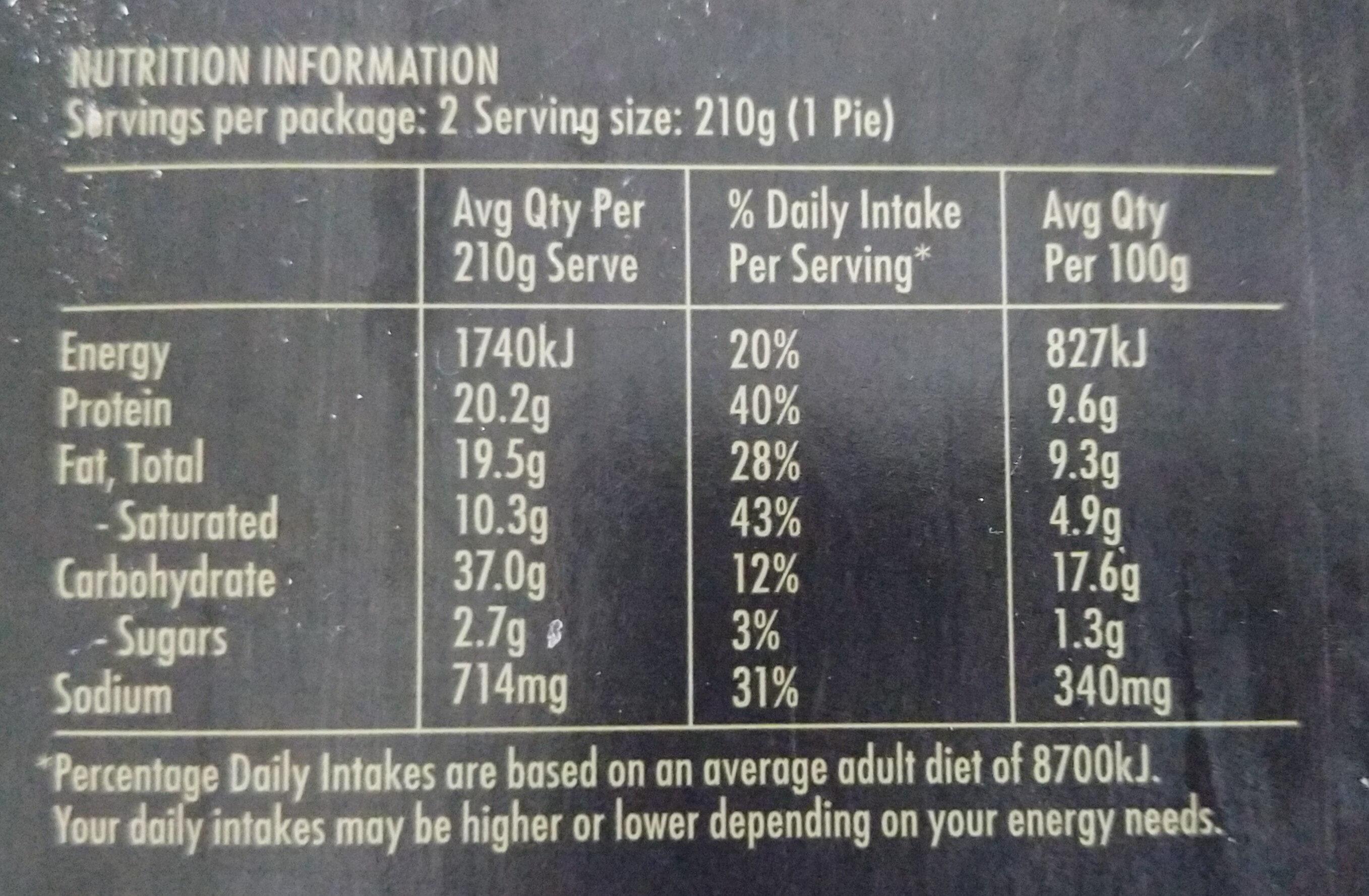 Chicken & Leek In Creamy Camembert Sauce Pie - Informations nutritionnelles - en