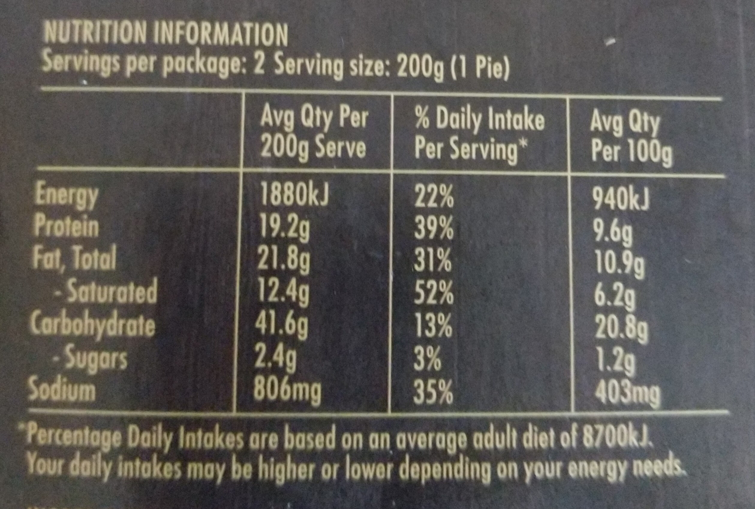 Chunky Sous Vide Beef & Button Mushroom Pie - Nutrition facts - en