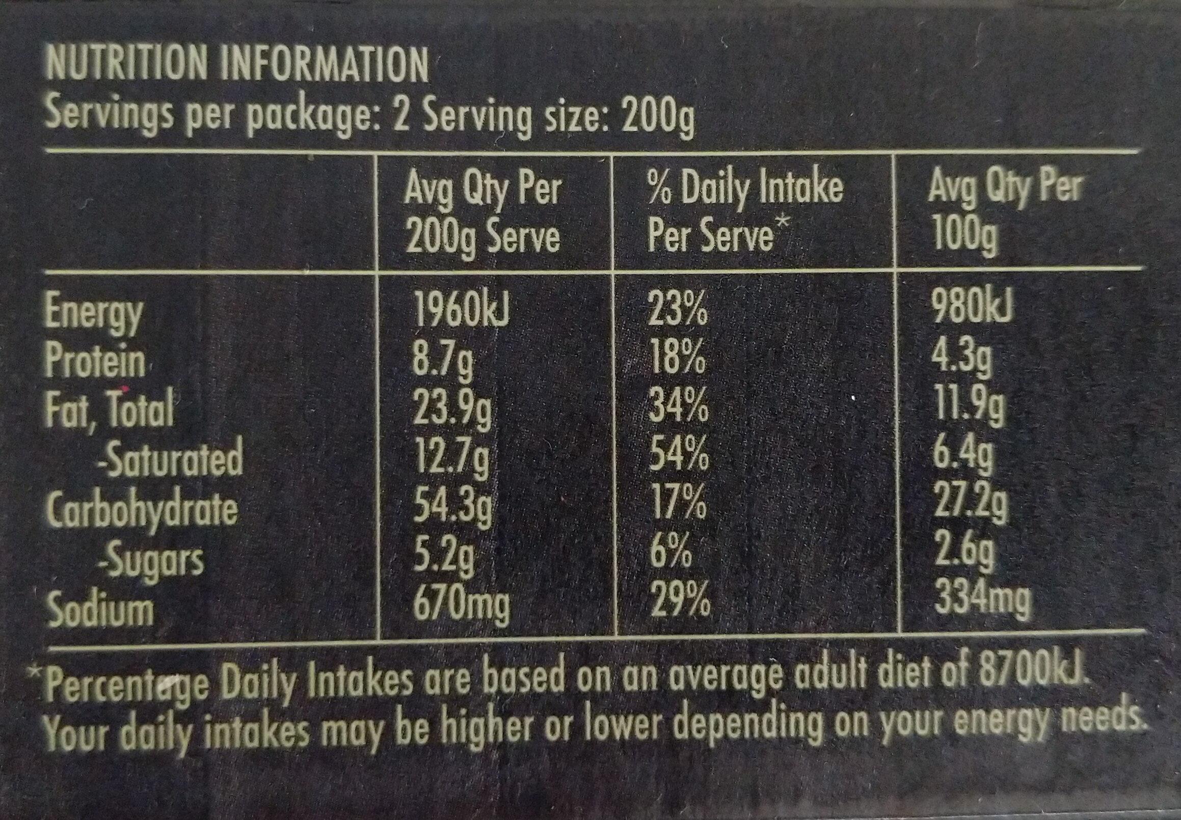 Vegetable Korma Curry Pie - Nutrition facts - en
