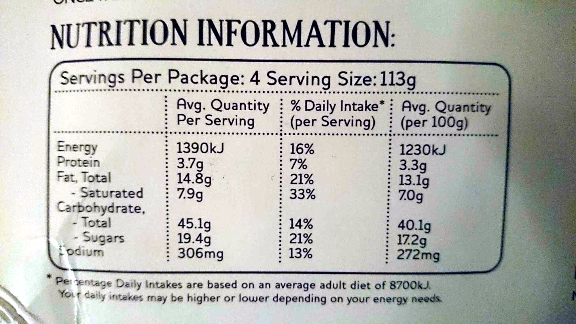 4 Snack apple Pies - Nutrition facts - en