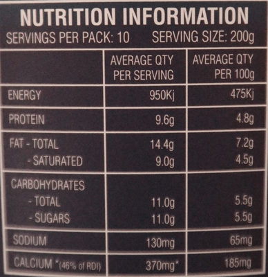 Greek Style Natural Yoghurt - Nutrition facts