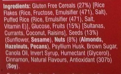 Gluten free bars - Ingredients