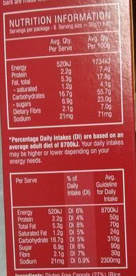 Gluten free bars - Nutrition facts
