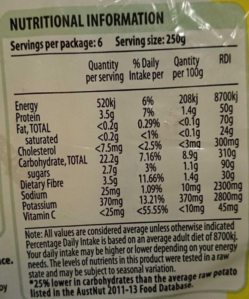 Spud Lite - Low Carbohydrate Potato - Informations nutritionnelles - en