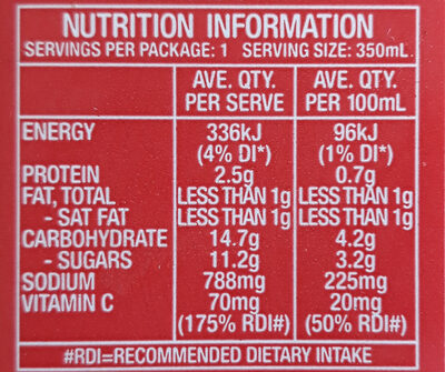 fruitylicious tomato juice - Nutrition facts - en
