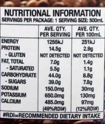 Iced Coffee - Informations nutritionnelles - en