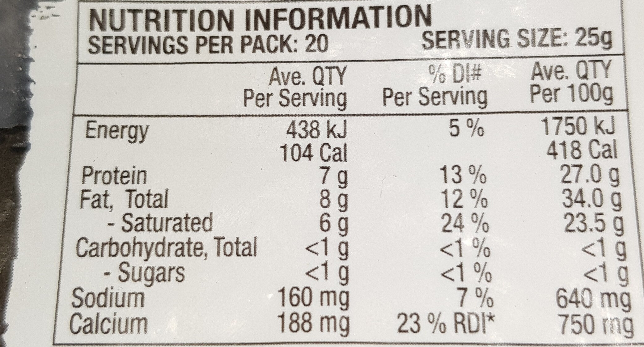 Cheese - Nutrition facts - en