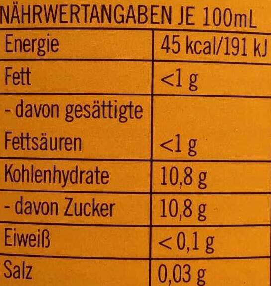 Ginger Brew - Nutrition facts - de