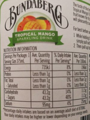 Bundaberg Trop Mango 375ML / 12 - Nutrition facts - en