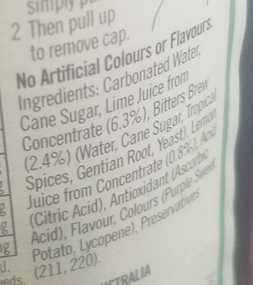 Lemon Lime and Bitters - Ingredients - en
