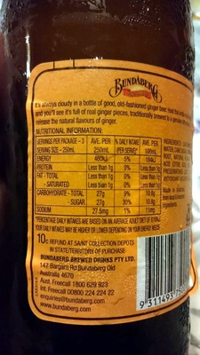 Bundaberg - Ginger Beer - Nutrition facts - en