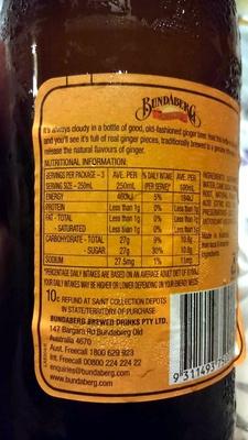 Bundaberg - Ginger Beer - Nutrition facts