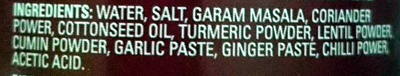 Rogan Josh Curry Paste Medium - Ingredients