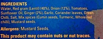Dhal Tadka - Ingredients