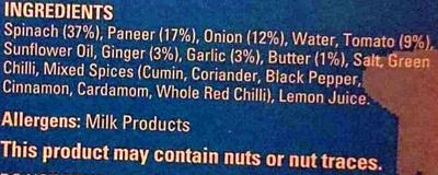 Palak Paneer - Ingredients