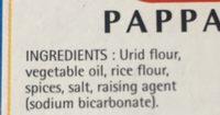 Pappadam plain - Ingredients