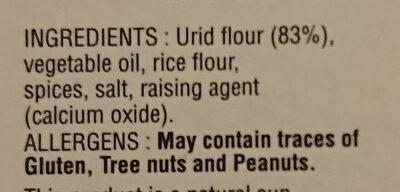 Pappadam Garlic Mild - Ingredienti - en