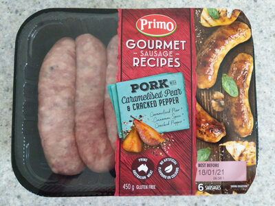 Gourmet Sausage Recipe Pork with Caramelised Pear & Cracked Pepper - Product - en