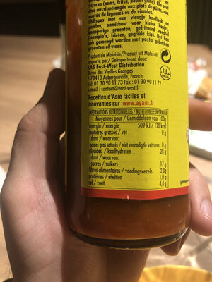 Sauce piment ail et gingembre Ayam™ - Nutrition facts - fr