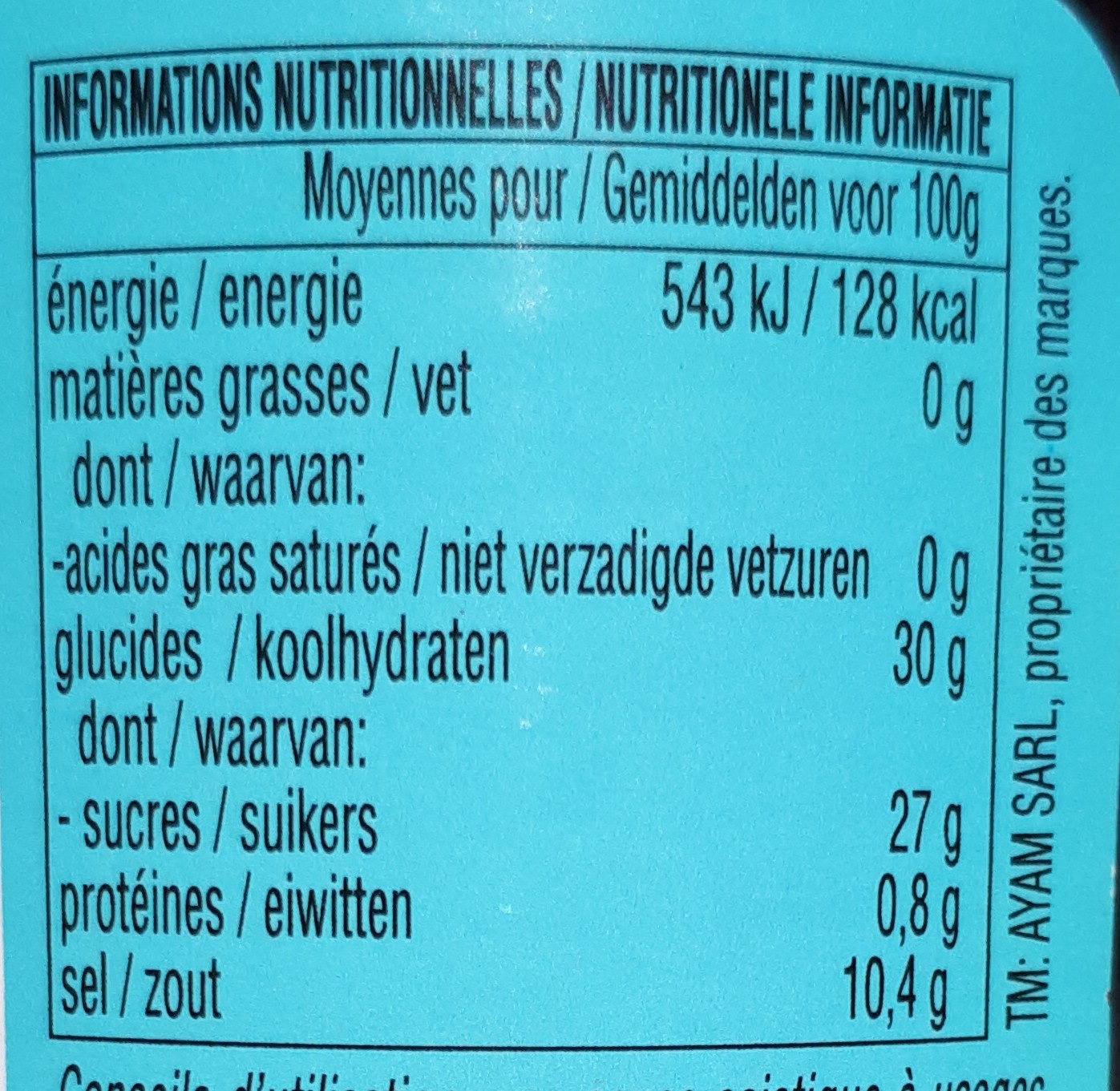 Sauce d'huître - Nutrition facts