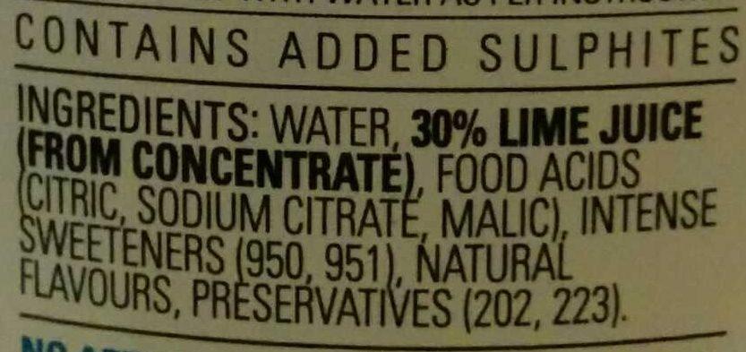 Diet Lime Cordial - Ingredients