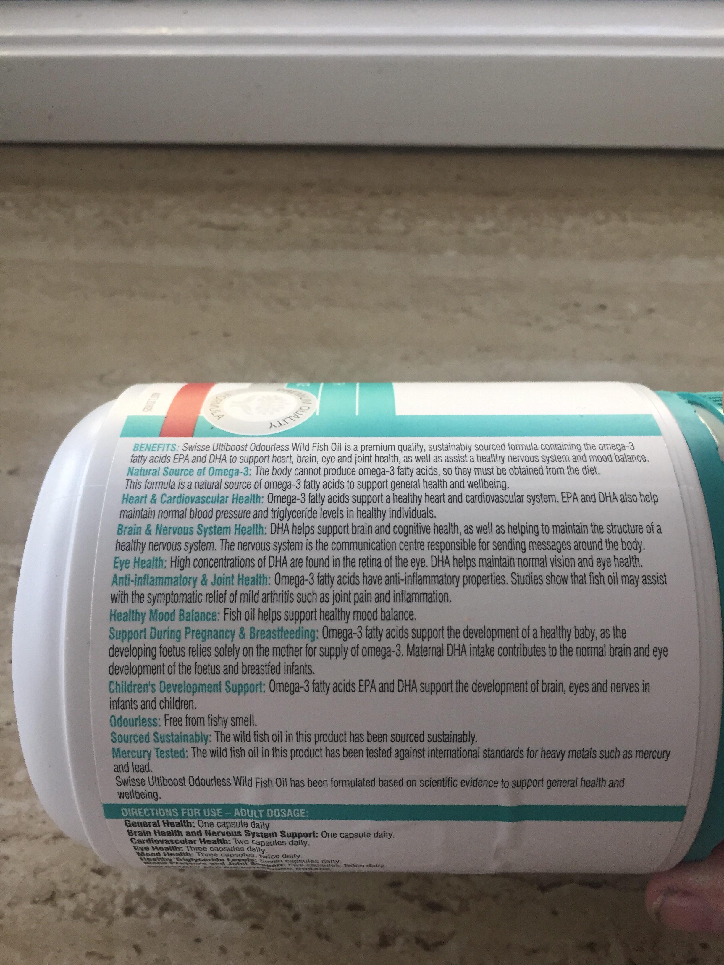 Odourless wild fish oil - Nutrition facts - en