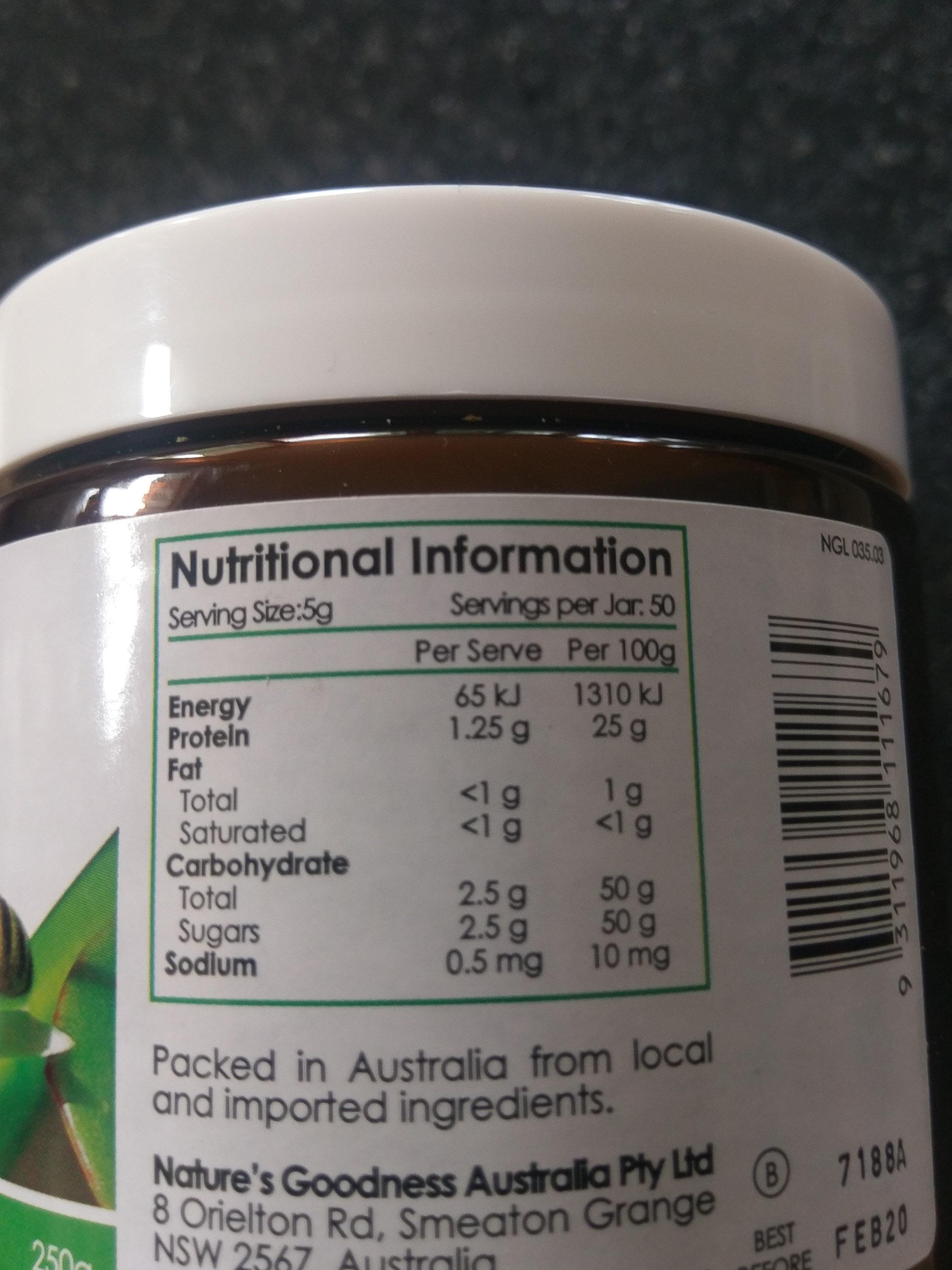 bee polen - Nutrition facts - en