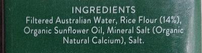 Organic Rice Milk - Ingredients