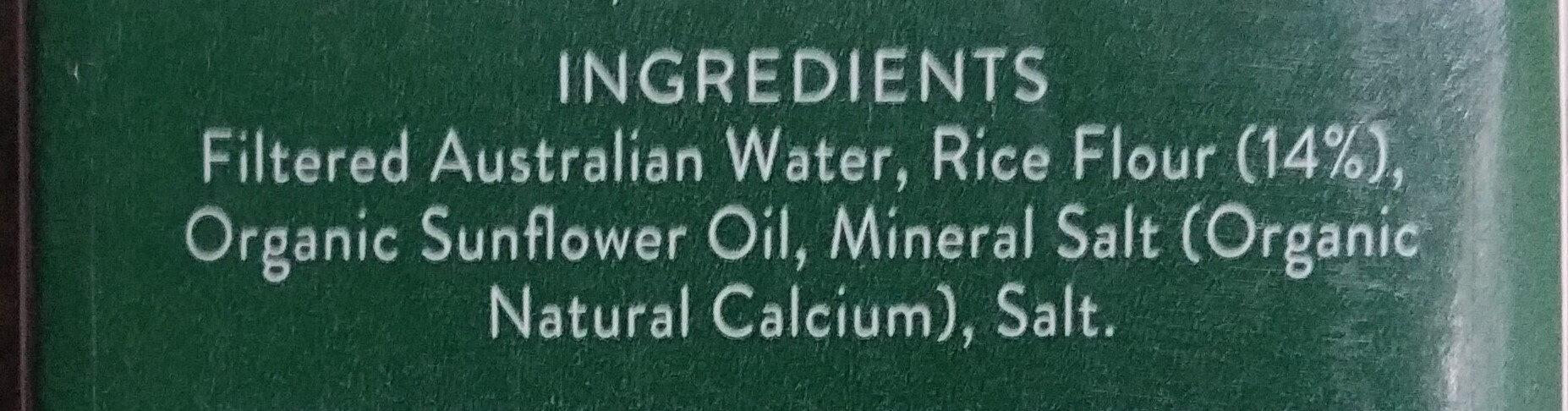 Organic Rice Milk - Ingredients - en
