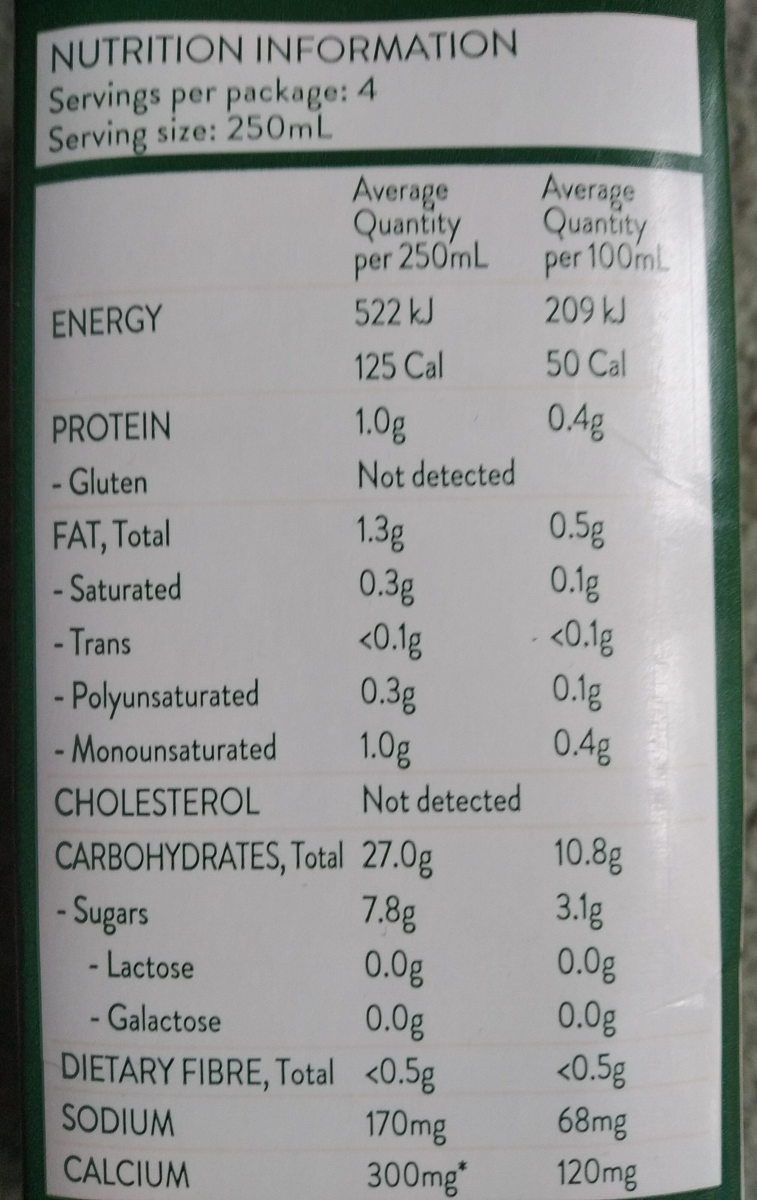 Organic Rice Milk - Voedingswaarden - en