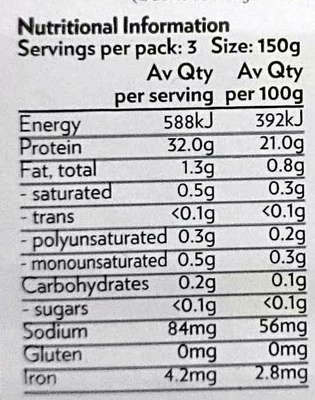Sustainable Open Range Kangaroo Diced - Nutrition facts