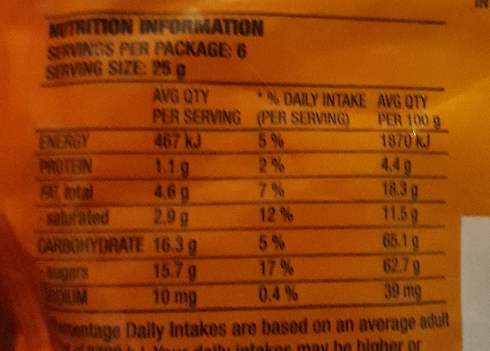 Fruchocs - Nutrition facts