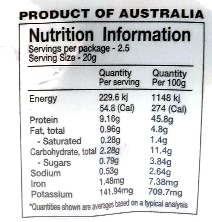Emu jerky - Informations nutritionnelles