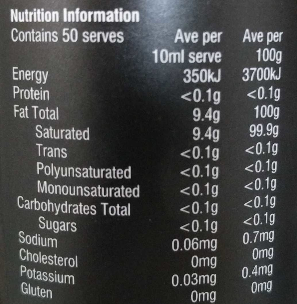 Melrose MCT - Nutrition facts