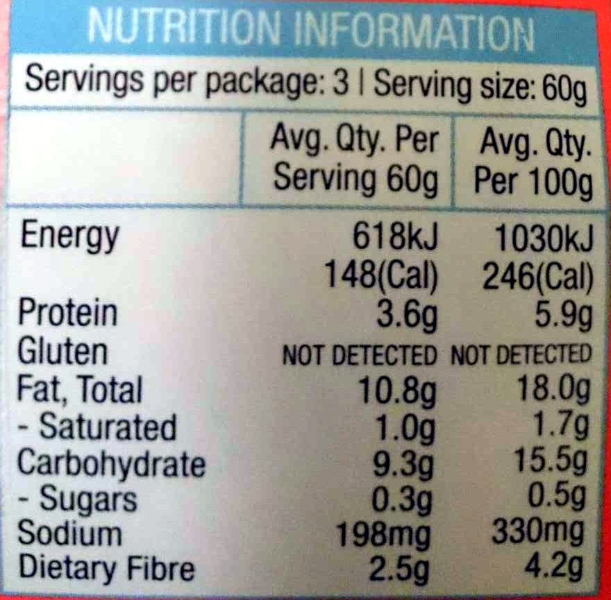 Prince Harry Hommus - Nutrition facts