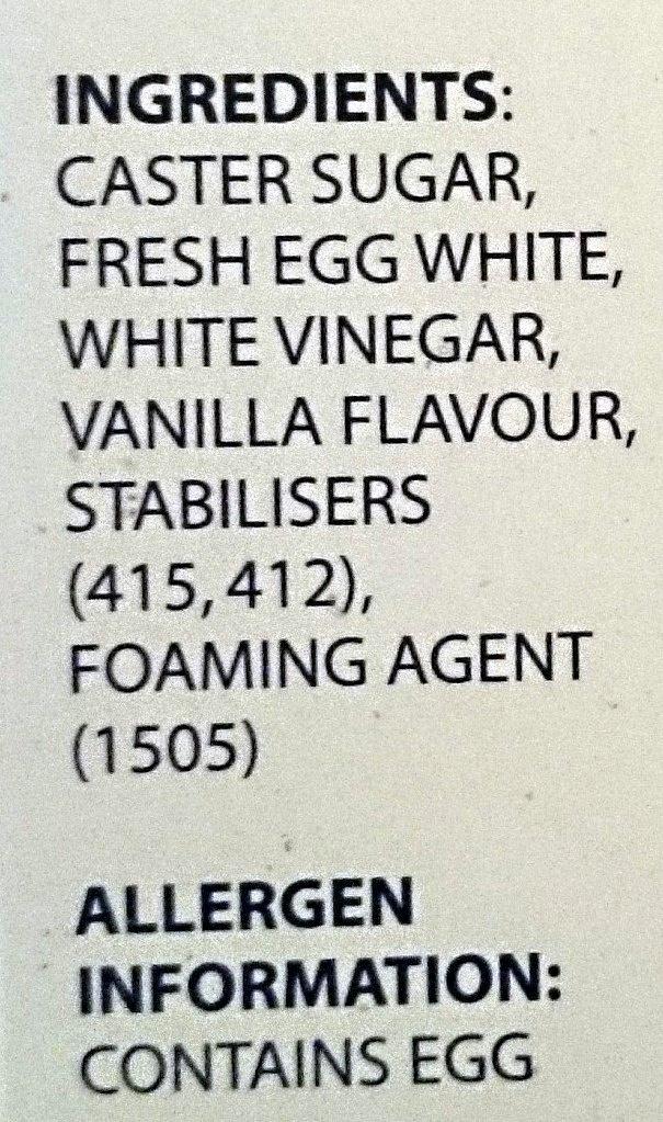Calais Pavlova Nests - Ingredients - en